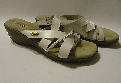 eecdb8015a6c Bass 7.5 M Sandals White Leather Strappy 2 inch Wedge Sunjuns Brianne 7 1 2