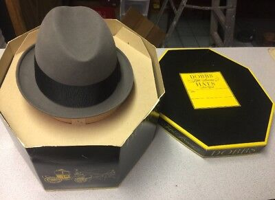Vintage Dobbs Fedora Hat Dunhill's Size 7 Box Metro Gray Fifth Avenue New York