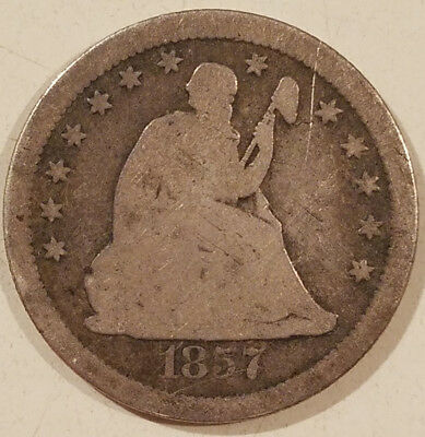 1857-S Seated Liberty Quarter Rare Early San Francisco Date