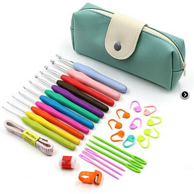 31pcs Crochet Hooks Set Knitting Needle Sewing Tool Ergonomic Grip Bag Hook