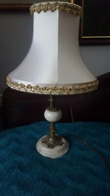 Stylish Ornate Gilt Metal Brass And Marble Side Table Lamp With Vintage Shade