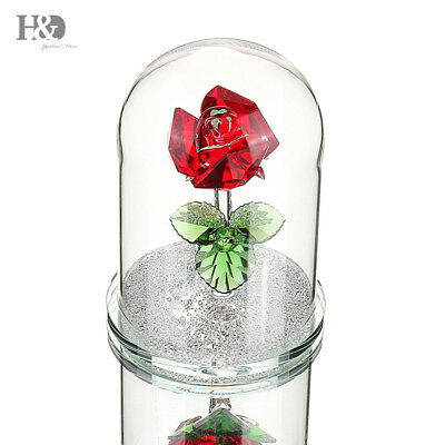 New Crystal Red Rose Figurines Home Wedding Mother's Day Gift Ornaments Decor