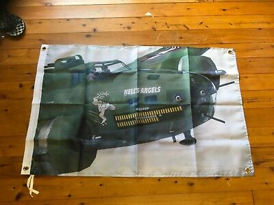 Hells angels bomber Ww2 United States Air Force war man cave flag raaf raf