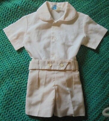 80s Vintage Baby Shorts Suit Prince Wear by Julie Off-white and Tan 12mth