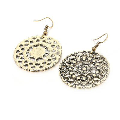 Retro Gold Silver tone Ethnic Carved Round Garland Dangle Ear Hook Earrings