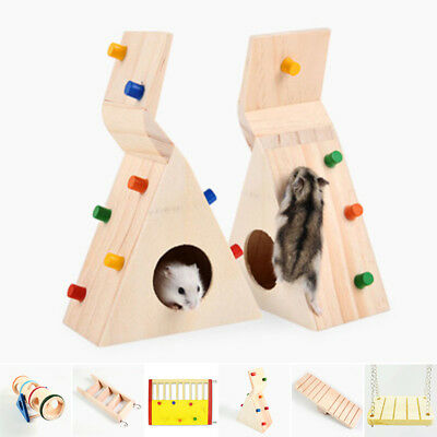 Wooden Colorful Seesaw Cage House Swing Play Pet Toys For Hamster Rat Mouse Mice