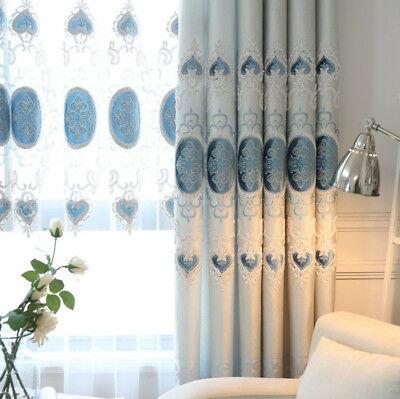 Shiny European Curtain Blackout Cloth Drape Sheer Tulle Embroider Fabric 1 Piece