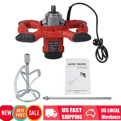 110V Electric Mortar Mixer 1500W Dual High Low Gear 6 Speed Paint Cement Grout