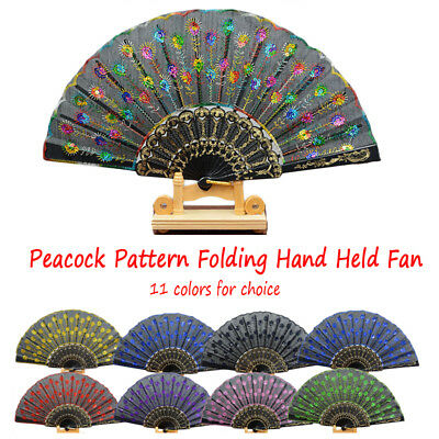 1pc Peacock Pattern Folding Hand Held Fan Dance Embroidered Sequin Party Wedding