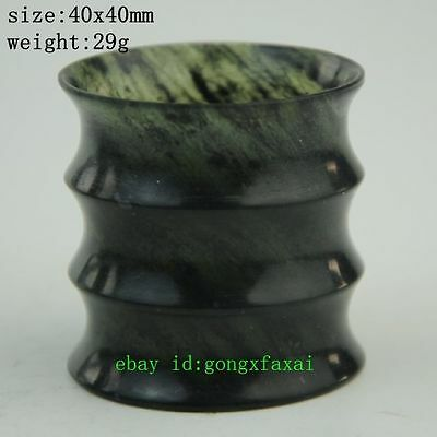 Chinese antique Hetian Cyan jade Ming&Qing pure hand-Carved bamboo cup a02