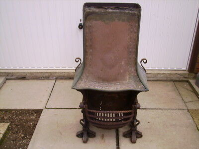 Victorian inglenook fire basket/fire grate with canopy.