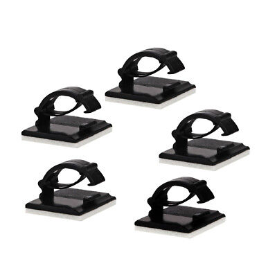 10pc Self-adhesive Black Plastic Wire Fixed Clip Wire Holder Clips For Cable