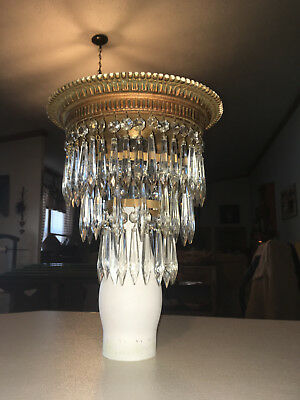 Antique Art Deco Crystal Prisms 3 Tiered Chandelier Wedding Cake Shade - 11""