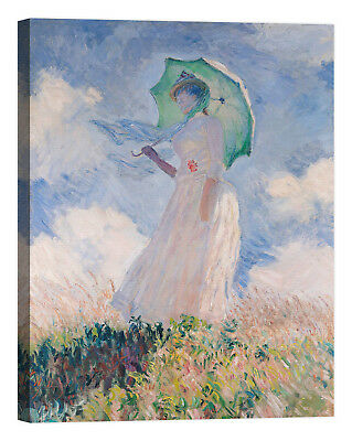 Claude Monet Woman with Parasol Stampa su tela Canvas effetto dipinto