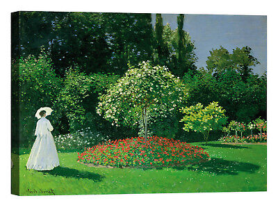 Claude Monet Young Woman in a Garden Stampa su tela Canvas effetto dipinto