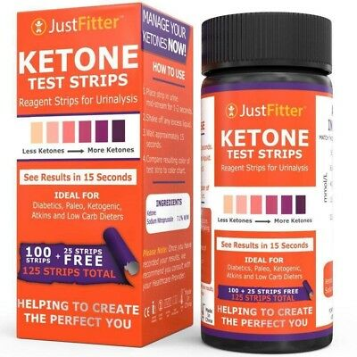 Ketone Test Strips Ketogenic Diet Fat Burning Measure Ketosis Levels 125 Strips