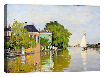 Claude Monet Houses on the Achterzaan Stampa su tela Canvas effetto dipinto