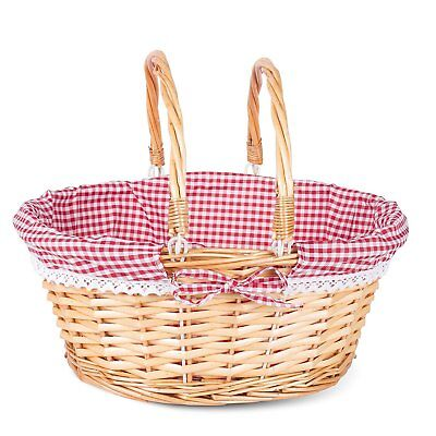 Honey Color Foldable Handle Wicker Shopping Baskets Christmas Gift Hamper Displa