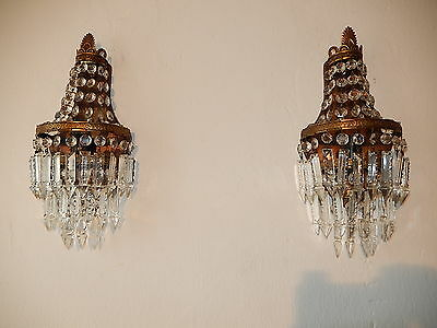 ~c 1930 French Crystal Prisms Bronze Sconces Empire Rare Beautiful Spear Tiers~