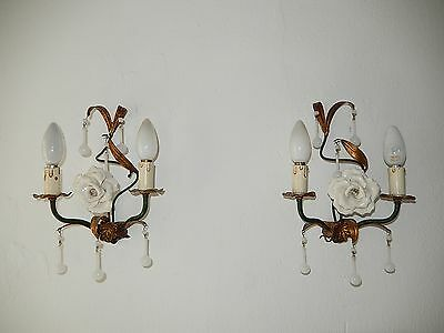 ~c 1920 Italian RARE White OPALINE Drops & Beads Murano Tole Huge Rose Sconces~