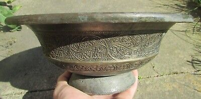 Huge Antique Islamic Decorated Silvered Bowl Circa 17Th-18Th Century Ad