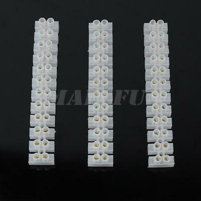 3pcs Dual Row Terminal Block 12 Position Barrier Strip Cable Wire Connector NEW