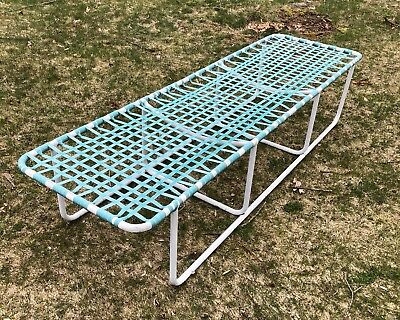 Rare Brown Jordan Bench Lounger 1960s Mid Century White Aqua Teal