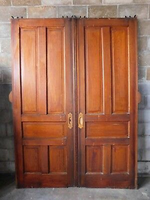 Antique Victorian Style Double Pocket Door - C. 1890 Fir Architectural Salvage