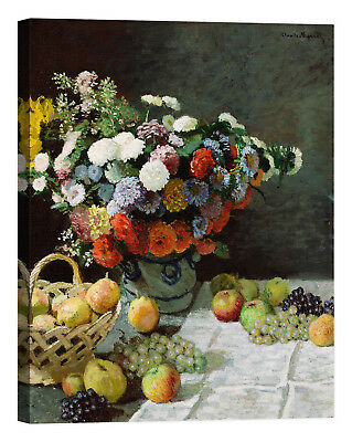 Claude Monet Still life with flowers Stampa su tela Canvas effetto dipinto
