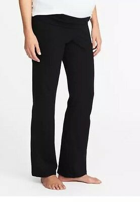 Old Navy Maternity Roll-Panel Active Yoga Pants XS Black Fold-over belly