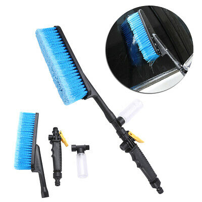 Blue Car Wash Brush Water Spray Cleaning Tool Soft Bristle Switch Foam Bottle