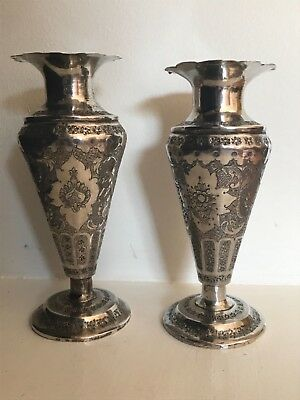 A Pair of antique persian solid silver vases