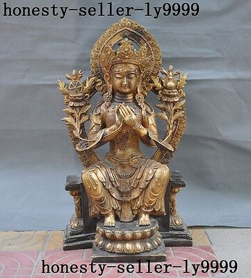 Marked Tibetan Buddhism bronze Gilt Tara Kwan-Yin GuanYin goddess Buddha statue