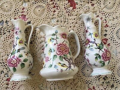 Old Foley James Kent Chinese Rose Jugs x3
