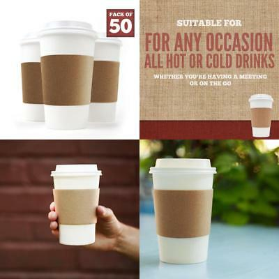 Disposable Paper Coffee Cups - Insulated - With Lids And Sleeves (50, 16 Oz)-New