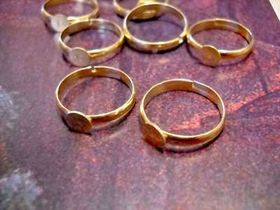 20 Ring Blanks BULK Findings Ring Setting Gold Brass Adjustable Rings