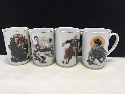 4 Vintage Norman Rockwell Saturday Evening Post Porcelain Coffee Mug Cups NEW!