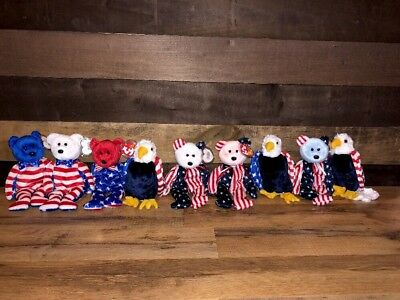 LOT 9 TY LIBERTY PATRIOTIC SPANGLE GLORY RED WHITE BLUE Beanie Babies RETIRED