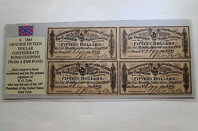 Four 1864 Genuine Fifteen  Dollar Confederate Bond Coupons  Block  Of Four