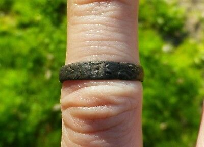 Medieval Bronze Seal Ring With Ihs Monogram - 15 Th Century-Beautiful Condition