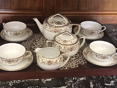 FANTASTIC NORITAKE NIPPON China 15 Pc Hand Painted Gold Gilded Tea ...