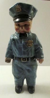 """Buddy Lee 1949 Route 66 Man Vintage Cast Iron 7.5"""" Tall Coin Bank"""