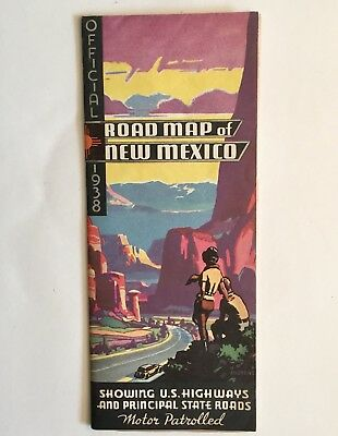 Vintage 1938 State Commission Highway Department Road Map Of New Mexico