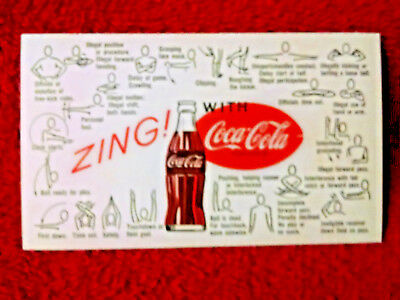 "1960'S NFL Coca-Cola  Football  REFEREE SIGNAL CARD ""ZING-Pocket size take with"