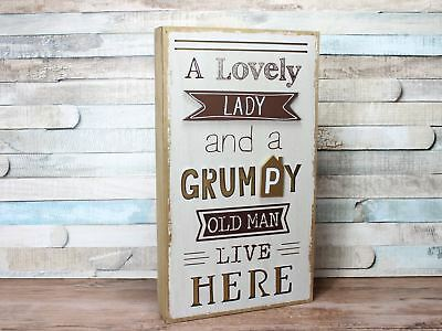 Lovey Lady & Grumpy Old Man White Gold Freestanding Hanging Box Plaque Sign