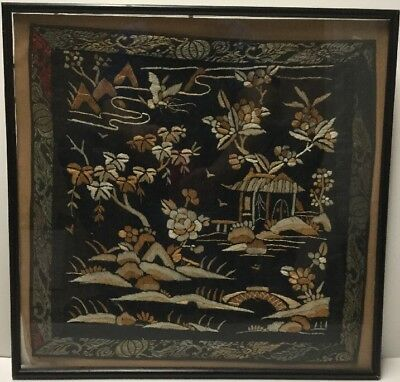 Antique Chinese Embroidery Tapestry Framed