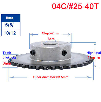 "#25 Chain Drive Sprocket 40T Pitch 1/4"" 04C40T Outer Dia 83.5mm Bore 8/10/12mm"