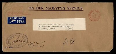 DR WHO 1956 HONG KONG CANCEL OFFICIAL BOAC AIR MAIL TO CANADA AVIATION d11521
