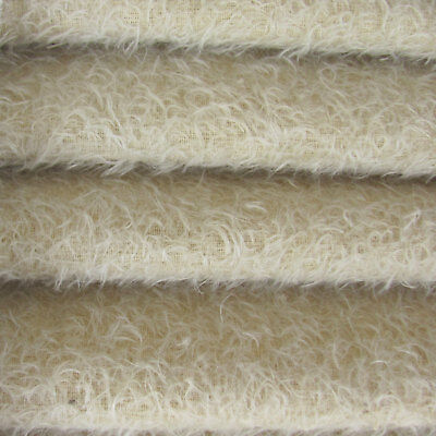 """1/4 yd 300S/CM Oatmeal INTERCAL 1/2"""" Ultra-Sparse Curly Matted Mohair Fabric"""