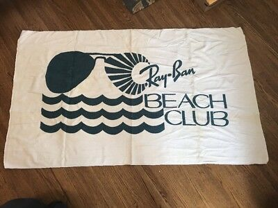 "New Vintage 80s Ray-Ban Aviator Sunglasses Beach Club Towel White 61""x35""NOS USA"
